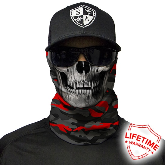 Бафф/Бандана с черепом S.A. Company FIRE RED MILITARY BLACKOUT CAMO SKULL