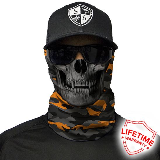 Бафф/Бандана с черепом S.A. Company ORANGE GREY MILITARY CAMO SKULL
